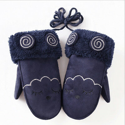 Suede Gloves Cute Children Winter Mittens Warming Solid Cotton Knit Glove LT