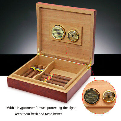 20 Counts Cigar Cedar Wood Lined Storage Box Humidifier Hygrometer Case Holder