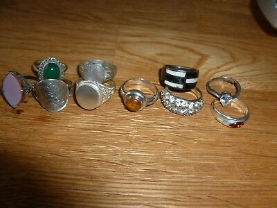job lot silver rings scrap/wear /repair