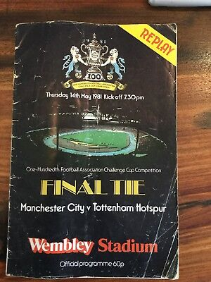 FA Cup Final Replay 1981 Programme Manchester City Tottenham