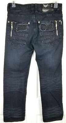 LN Jeans Black Straight Leg Size 31x32 Distressed Embroidery Zippers Moonshine