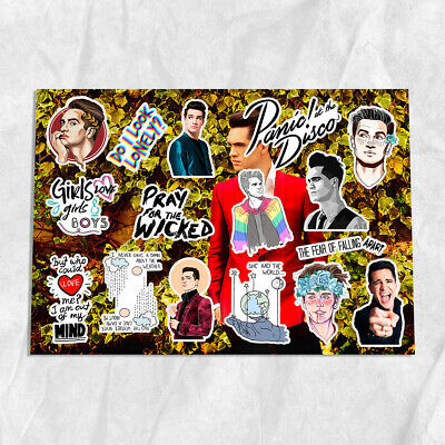 Panic! At the Disco PATD Brendon Urie Dallon Weekes rock A4 stickers set decals