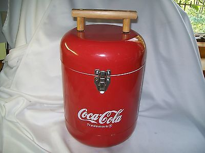 Super Rare Coca-Cola Metal Cooler Canister Style W/ Wooden Handle Advertising