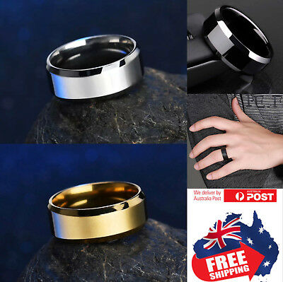 Titanium Stainless 8mm Brushed Center Men Women Wedding Band Comfort Ring 1pc