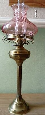 Vintage Brass Column Reproduction Oil Lamp, C1970-80S, Cranberry Flash Shade.