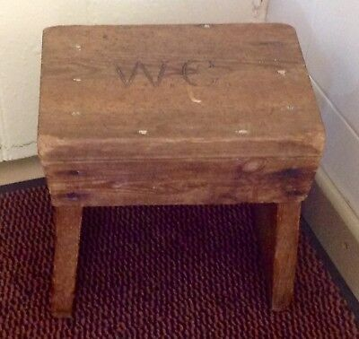 Antique Georgian Early 19th Century Childs Pitch Pine Stool, Original Nails. Vgc