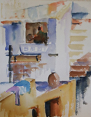 BARRIE BRAY (1940-2015), Cornish artist, Watercolour, A North African Rooftop I