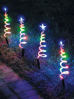 4 Light Up Spiral Tree Garden Path Stake Outdoor Christmas Decoration LED Lights