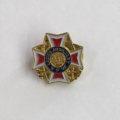 Vintage Ladies Auxiliary VFW Pin Veterans of Foreign Wars of the US Gold Tone