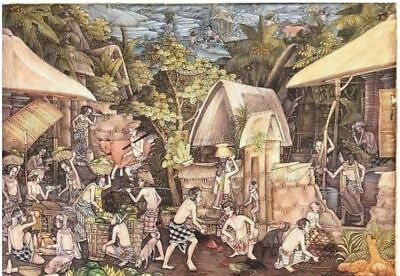 Large Balinese Painting of Village Life