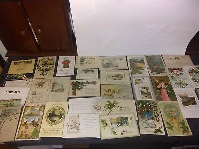 32 Vintage Antique Lot Of 1900's Christmas Post Cards