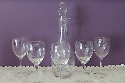Clear Glass  Decanter W/stopper And 5 Water / Wine Glasses - Etched Grape