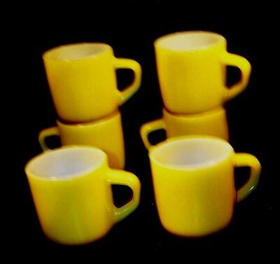 6- Yellow/brown Bottom Vintage Stackable Fire King Ware Mugs