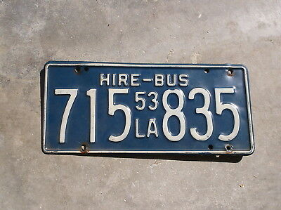 Louisiana 1953  Hire - Bus License Plate  # 715 835