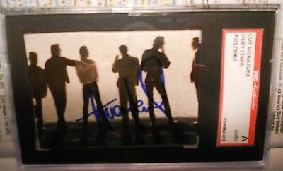 Huey Lewis - Autographed/Signed Fore Back Reverse Standing Tape Cover-Sgc Slab