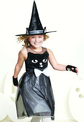 Black Kitty Cat Witch Fur Sparkle Halloween Costume Dress Girl Child Kids