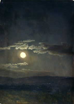 CLOUD STUDY MOONLIGHT by Albert Bierstadt - Matt, Glossy, Canvas Paper A4 or A3