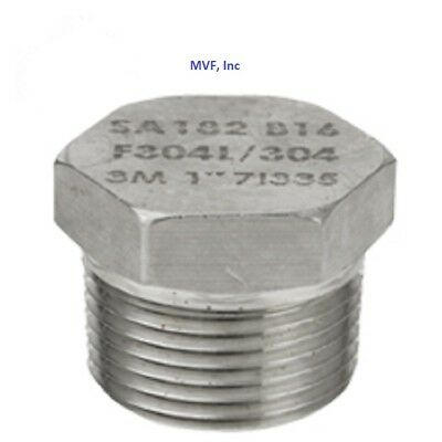 """Hex Plug Solid 304 Stainless Steel 3000/6000# 1/2"""" Npt Pipe Fitting <853.wh"""