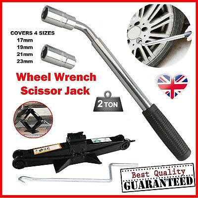 Hi-Q 2 Ton Scissor Jack and Extendable Wheel Brace Socket Wrench Car Van UK Ship