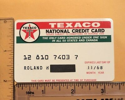 vintage 1968 plastic texaco oil company national credit card used