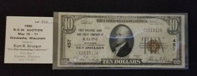 Racine Wisconsin 1929 National Curency 10$ note circulated