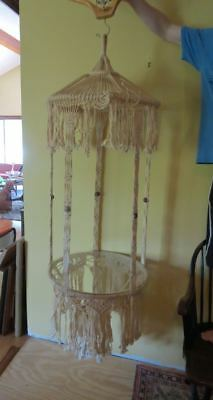 Large Vintage 60s 70s  Macrame Hanging  Glass Table , Planter, 5 ft Beads