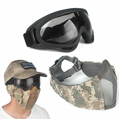 2pcs/set Outdoor Protective Steel Mesh Airsoft Half Face Mask Tactical Goggles