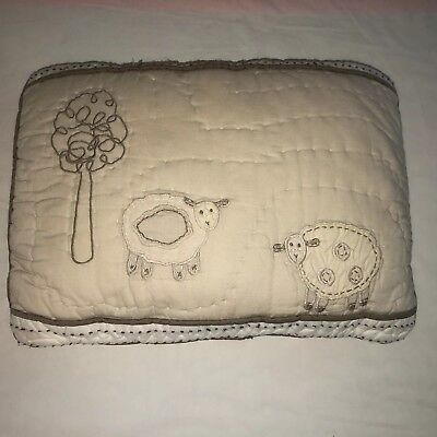 POTTERY BARN KIDS Sheep Lamb Quilted Blue CRIB SIZE Small Pillow Sham GUC