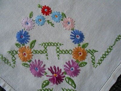 Beautiful Vintage Cotton Hand Embroidered Tablecloth