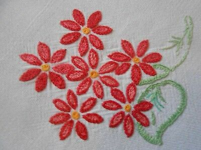 Beautiful Vintage Linen/rayon Hand Embroidered  Tablecloth