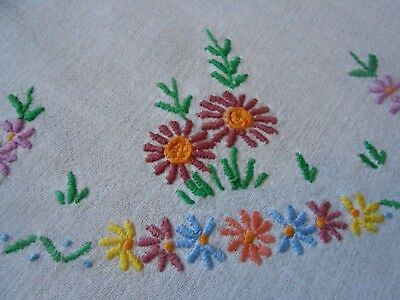 Beautiful Vintage Linen/cotton Mix Hand Embroidered Tablecloth