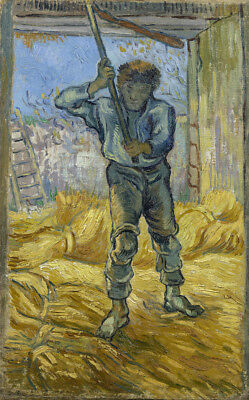 """Vincent Van Gogh Oil painting on canvas wall decorThresher (after Millet) 28x36"""""""