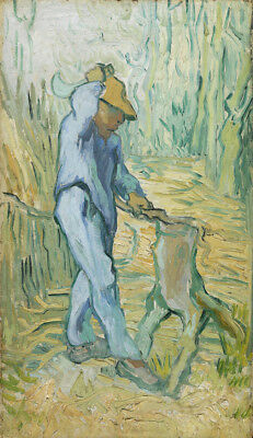 """Vincent Van Gogh Oil painting on canvas The Woodcutter (after Millet) 28x36"""""""