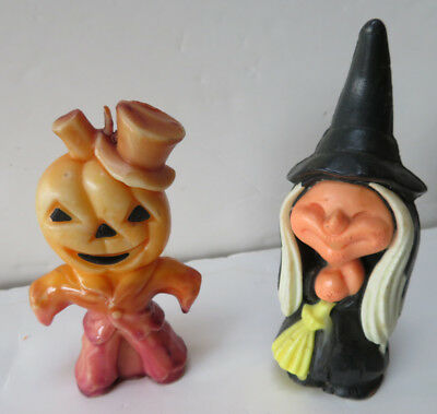 vintage medium size  Halloween  candles pumpkin figure with head and witch