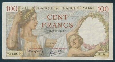 """France: WWII 18-6-1940 100 Francs """"ATTRACTIVE TYPE NOTE"""". Pick 94 VF Cat $46+"""