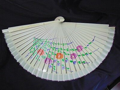 Antique Japan Folding fan Ornamental Tradition Bamboo lacquer 1900s Hand Painted
