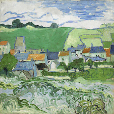 """Vincent Van Gogh Oil painting on canvas wall decor View of Auvers 28x28"""""""