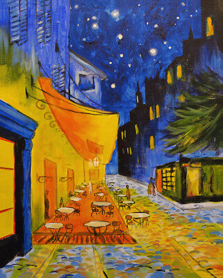 """Vincent Van Gogh Oil painting on canvas wall decor Cafe Terrace at Night 28x36"""""""