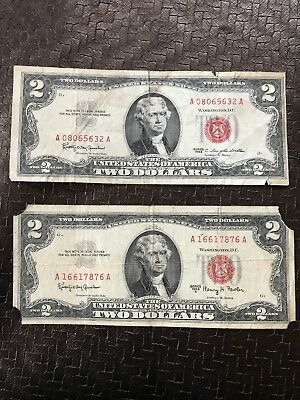 Series of 1963 Two Dollar $2 Bill  *Red Seal* United States Currency