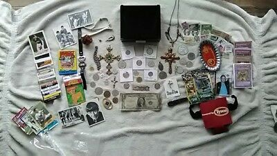 JUNK DRAWER LOT OF COINS, Crosses, Jewelry, Foreign Coins, Cards