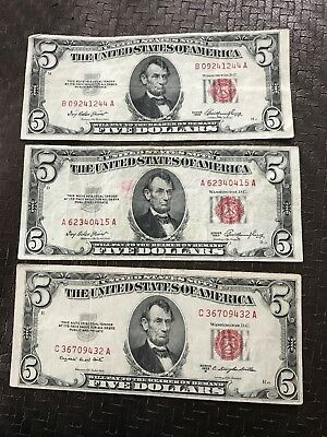 Lot of 3 1953 and 53 B  $5 US Legal Tender Notes (Red Seal) Circulated Condition