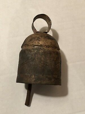 Vintage Antique Primitive Old  Loud COW BELL Riveted IRON Clapper Hand FORGED