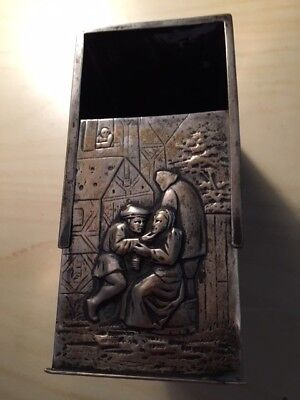 Ornate 800 Silver tavern scene box, sliding lid
