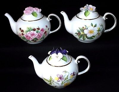 THREE Royal Stratford FLORAL LIDDED Teapots - Set Two