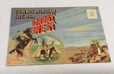 Vintage Paper Ephemera, Flip Out Postcard, Cowboy And Indian Life Great West