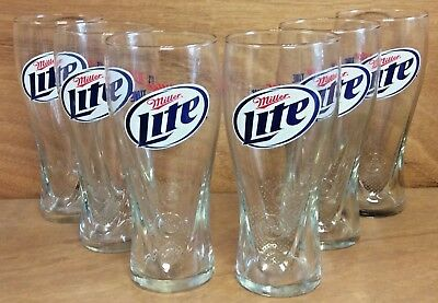 "Miller Lite Beer Glass 'Its Miller Time"" 16 oz Pilsner - Set of (6) NEW & F/Ship"