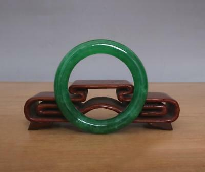 Chinese Natural Green Jadeite Jade Bangle Bracelet 56MM