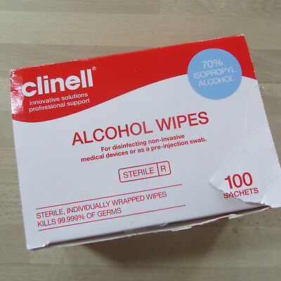 Clinell - Alcohol Wipes - 70% Isopropyl Alcohol - 100 Sachets.
