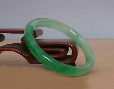 Fine Chinese Natural Green Jadeite Jade Bangle Bracelet 60MM