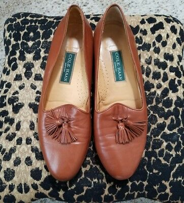 04c759fa8fbfe COLE HAAN BROWN Leather Tassel Loafers Flats Shoes Womens Size 10 B